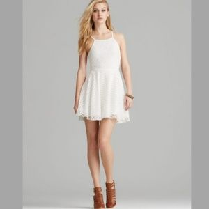 Minkpink fit n' flare ivory lace floral dress